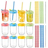 Suwimut 12 Pack Glass Mason Jar Cups With Lids and Straws, 8 oz Regular Mouth Spill Proof Kids Smoothie Cup with Stoppers for Drinking Canning Juice, Jams, Jelly