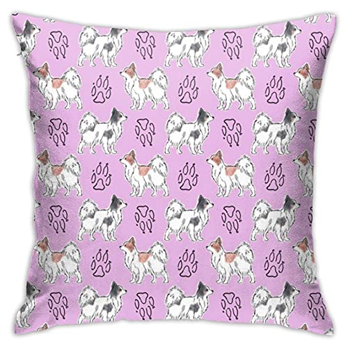 87569dwdsdwd Posing Papillons and Paw S Pinkrusticcorgi Throw Pillow Cover Pillow Cases for Home Decor Design Cushion Case for Sofa Bedroom Car 18 X 18 Inch 45 X 45 cm