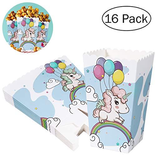 BESTONZON 16 Stück Einhorn Popcorn Tüten Popcorn Boxen Papiertüten für Familie Film Nächte...