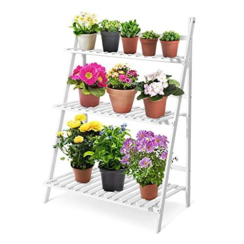 BANNAB Soporte para Flores de bambú de 3 Capas, Estante Plegable para Plantas de Varios Niveles, Estante para macetas de pie, para el hogar, balcón, jardín, Blanco, 70 x 40 x 96 cm