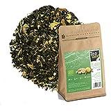 Tealand | Te Verde Ecologico con Jengibre y Limon | Hojas Sueltas, 100g | Te control de peso, Antioxidante y Digestivo | Infusion con Aromas Naturales