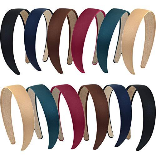 Satin Stirnbänder, FANDE 12 Stück Haarreifen Satin, Harte Stirnbänder, DIY Haarschmuck Stirnbänder, 1 Zoll Headwear für Damen Mädchen