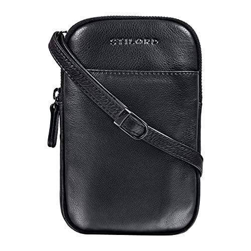STILORD 'Loki' Brustbeutel Leder Handytasche Umhängetasche Kleine Leder Tasche zum Umhängen Brusttasche für Handy Smartphone Crossbody Bag XS Echtleder Vintage, Farbe:schwarz