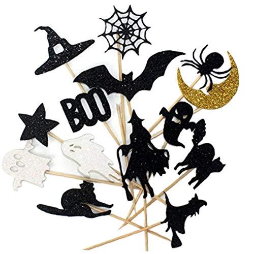 CULER 14pcs Halloween-Kuchen-Deckel Set Sparkly Bat Witch Geist Star Baby Shower Lebensmittel Picks Kuchen-Dekoration Halloween-Party-Picks