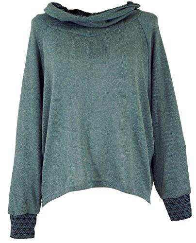 Guru-Shop Hoody, Sweatshirt, Pullover, Kapuzenpullover, Damen, Taubenblau, Baumwolle, Size:M/L (40), Pullover, Longsleeves & Sweatshirts Alternative Bekleidung