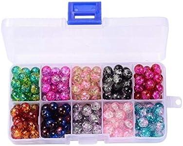 perfeclan 200 Unids/Caja Abalorios Redondos Surtidos Encantos Sueltos Cuentas de Cristal de Murano para Hacer Joyas