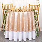 ShiDianYi 72' Round Champagne Sequin Tablecloth