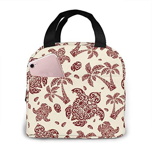 Hawaiian Turtle Palm Sea Pebbles Lunch Bag Cooler Bag Mujer Tote Bag Aislante Lonchera térmica Resistente al agua Bolsa de almuerzo de forro suave Bolsas de almuerzo para mujer / Picnic / Na