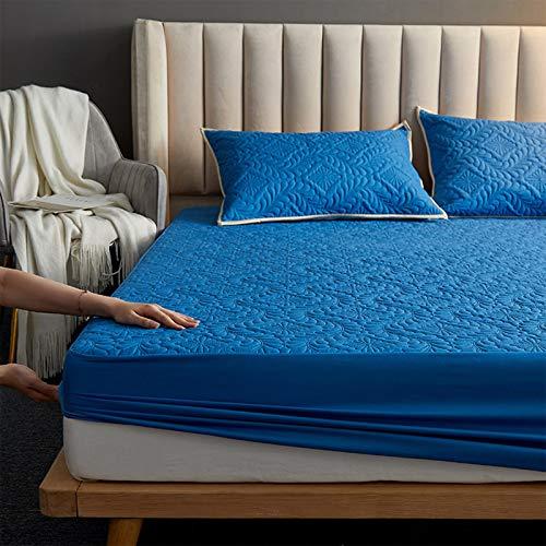 AIKES Lavable Fundas Colchón,Suave Impermeable Protector Colchón,Doble Soltero Protector Cama,por 5-colchones De 28cm-Azul Real 220x200x30cm