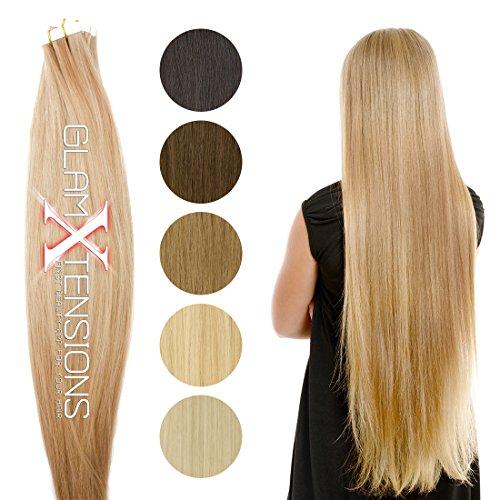 30 x Echthaar Tape On/In Extensions Haarverlängerung 50cm Tape Haare mit Klebeband pro Tresse 2,5g Gewicht - Tressen je 4 cm breit - Farbe #1b Naturschwarz