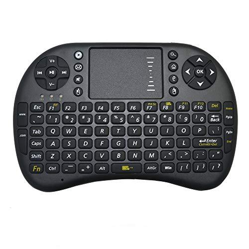 Ba Zha Hei de Ratón de Mano inalámbrico de 2.4GHz Multi-Media Wireless Mouse Touchpad Teclado inalámbrico de Wireless Keyboard Español Layout Uso Universal Ultra Delgado Teclado (Negro, S)
