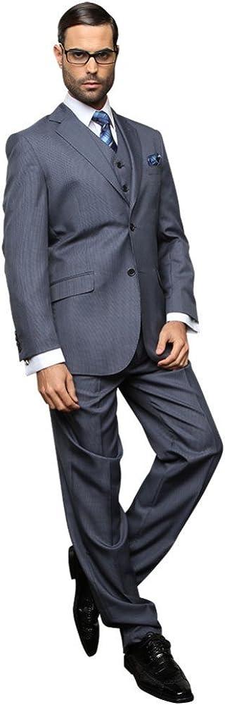 Statement Men's TZ-406 2 Button 3Pc Suit With 2 Side Vent Size 42L Blue