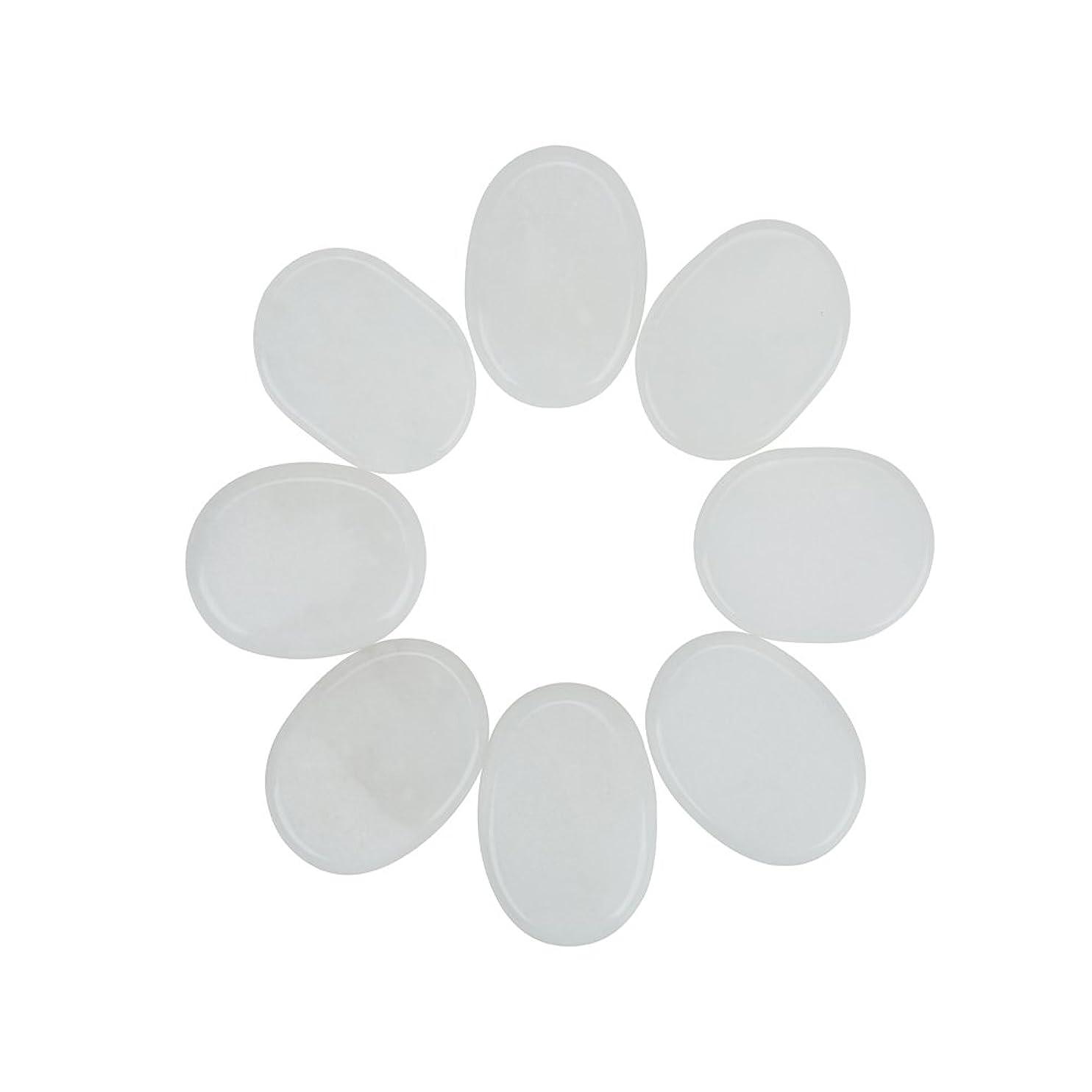 他の場所疑問に思う辛なWindfulogo 8個入りホットマッサージストーンセットナチュラルジェイドスパマッサージ用ウォームストーンホットホワイト1.18 x 1.57 in(3x4cm)