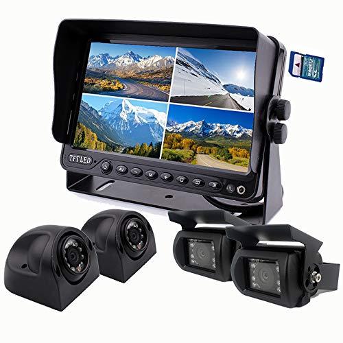 "Camnex Car Backup Camera System 9"" Monitor Build-in DVR Recorder with Quad Split Screen Rear View Camera System Kit for Truck Van Caravan Trailers Camper Bus RV Harvester"