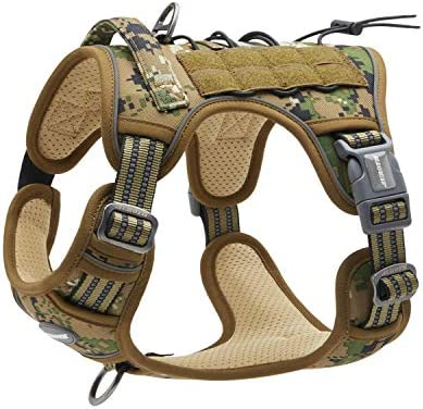 Auroth Tactical Dog Training Harness No Pulling Front Clip Leash Adhesion Reflective K9 Pet product image