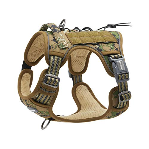 Auroth Tactical Dog Training Harness No Pulling Front Clip Leash Adhesion Reflective K9 Pet Working Vest Easy Control for Small Medium Large Dogs Woodland Camo M