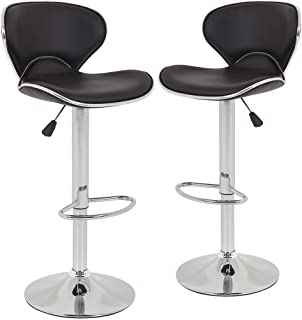 Bar Stools Counter Height Adjustable Bar Chairs With Back Barstools Set of 2 PU Leather..