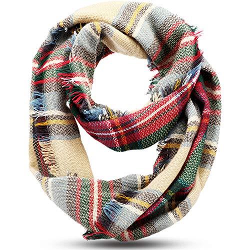 Winter Plaid Tartan Infinity Scarf Warm Checkered Pattern Circle Loop Scarf Wrap
