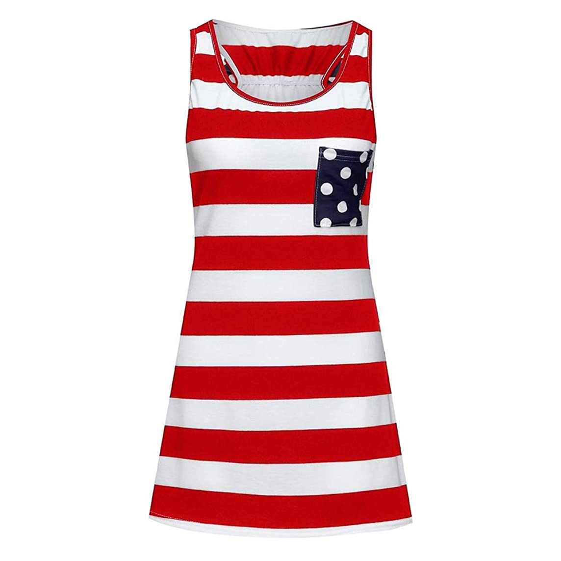Mommy&Me Women Family Sleeveless American Flag Vest 4th of July Tops Independence Day Parent-Child Dress
