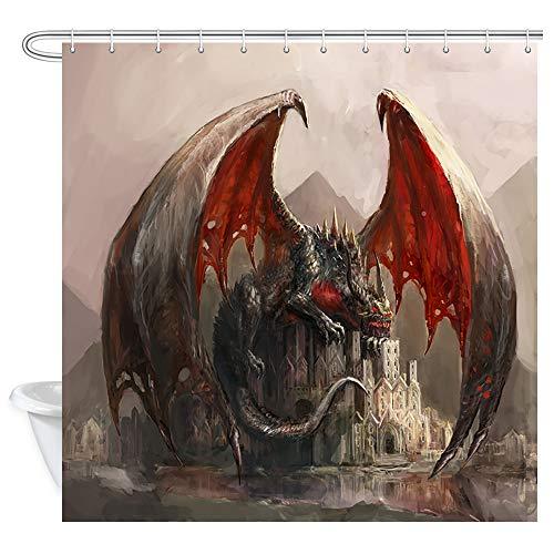 JAWO Fantasy Decor Shower Curtain, Dragon and Medieval Castle Gothic Theme, Polyester Fabric Bathroom Decor, Bath Curtain with Hook, Bathroom Accessories, 69x70 Inch