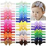 choicbaby 40pcs Baby Girls Stirnbänder 4 Zoll Haarschleifen Elastisches Haarband Haarschmuck für Kleinkinder Neugeborene