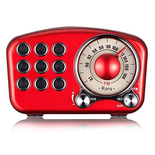 HYK Altavoz Bluetooth de radio retro vintage, radio FM de diseño retro vintage, conexión inalámbrica Bluetooth 4.1 fuerte mejora de graves ranura para tarjeta TF portátil para fiesta de viaje (rojo)