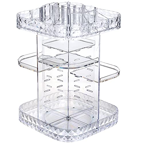MOSIKER 360 Rotating Makeup Organizer,Large Clear Acrylic Square Perfume Holder,360-Degree Adjustable Cosmetic Storage