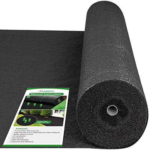 Amagabeli 5.8oz 6ftx300ft Weed Barrier Landscape Fabric Heavy Duty Ground Cover Weed Cloth Geotextile Fabric Durable Driveway Cover Garden Lawn Fabric Outdoor Weed Mat