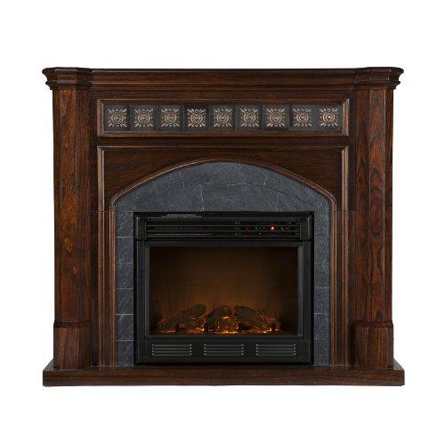 Big Sale Southern Enterprises Lake Austin Espresso Electric Fireplace