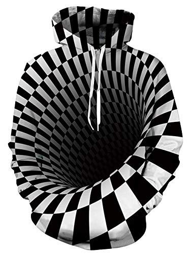 uideazone lustige Schwarz Weiß Pullover 3D Hoodies Teenager,S-M,Schwarz-weiß 1