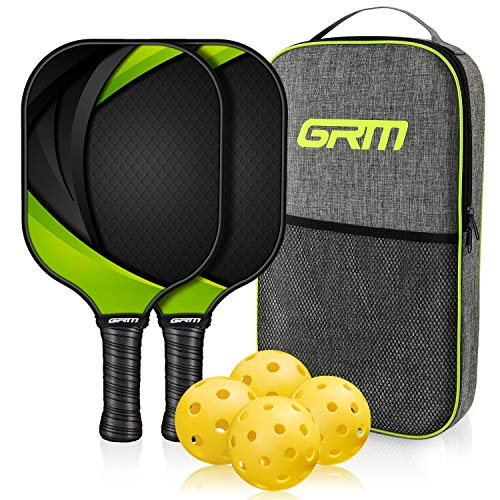 GRM Pickleball Paddles Set of 2, Pickleball Set Graphite Pickleball Rackets Set Lightweight Honeycomb Composite Core and Carbon Fiber Surface with 4 Balls Portable Paddle Bag