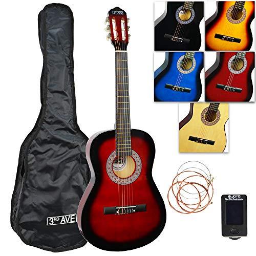 3rd Avenue Konzertgitarren-Set in Normalgröße mit Nylonsaiten, mit Tasche, Saiten und Stimmgerät – Redburst