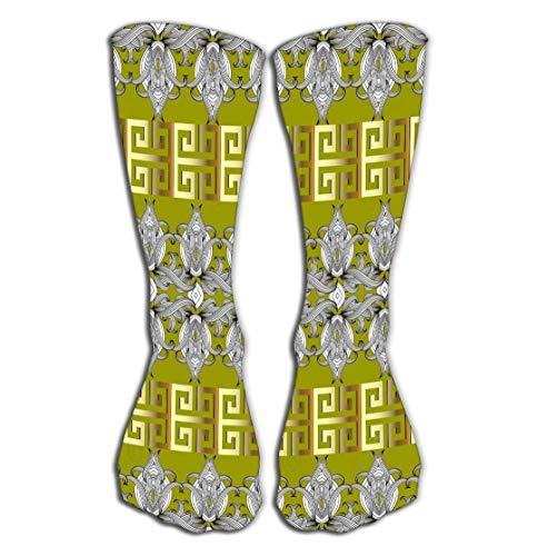 winterwang Calcetines-Mujer Algodn Colorido Cool Fun Calcetines 19.7'(50cm) meandros florales griegos patrn de borde sin costuras verde claro