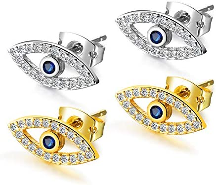 Gold Plated Silver Plated Evil Eye Stud Earrings with Mini Cubic Zirconia Cobalt Blue Glass product image
