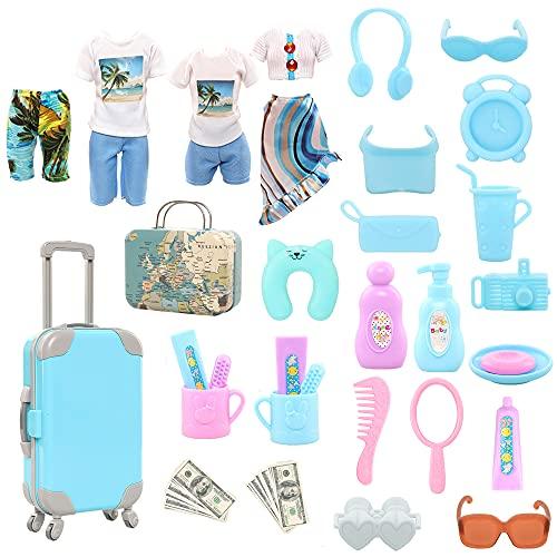 Miunana 30 Kleidung Zubehör für Puppen = 1 Koffer + 1 Handkoffer + 2 Kleidung + 24 Accessoires für 11,5 Inch Mädchen Puppen + 1 Kleidungssatz + 1 Badehose für Jungen Puppen