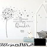 Wandtattoo Babyzimmer Wandsticker Pusteblume Spruch Zitat & Sterne mit Namen & Datum M2342 - ausgewählte Farbe: *schwarz* ausgewählte Größe: *M - 100cm hoch x 122cm breit*