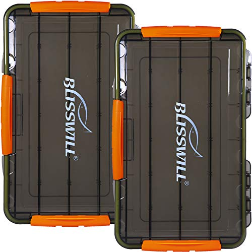 BLISSWILL Fishing Tackle Storage Trays,Fishing Tackle Box,Storage Organizer Box,3700 Tackle Trays with Removable Dividers,Tea-Colored Transparent Waterproof Fishing Tackle Storage - 2 Packs