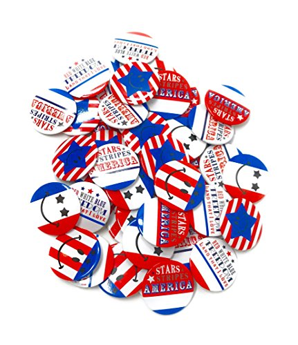 100 Bulk 2' Patriotic Buttons - 4th of July Parade or Fourth of July Party