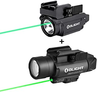 Image of OLIGHT Baldr Mini 600 Lumens Magnetic USB Rechargeable Weaponlight with Green Beam and White LED Combo, Bundled with Baldr Pro 1350 Lumens Tactical Weaponlight with Green Light and White LED