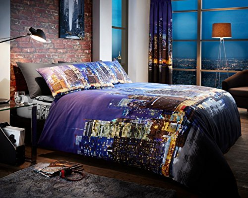 Adam 3D NYC New York City Night Duvet/Quilt Cover Sets Bedding Sets (King, New York)