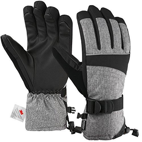 Andake 3M Thinsulate | Touchscreen wählbar | warm wasserdicht Winddicht rutschfest atmungsaktiv | Handschuhe Skihandschuhe Winterhandschuhe Thermohandschuhe Herren Männer, Grau, M