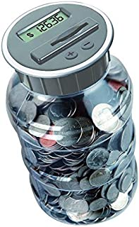 Teacher's Choice Digital Coin Bank Savings Jar - Automatic Coin Counter Totals All U.S. Coins Including Dollars and Half Dollars - Original Style, Clear Jar w/Grey Lid