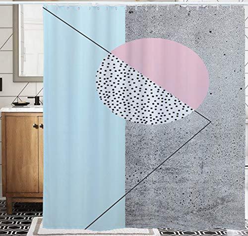 SCVBLJS Blaugrau Duschvorhang Wasserdichter Badvorhang Aus Polyestergewebe Antibakterieller Badvorhang Mit Haken 180 * 200 cm