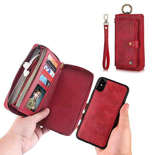 JAZ iPhone XS Wallet Case, iPhone X Wallet Case Zipper Purse Detachable Magnetic 13 Card Slots Money Pocket Clutch Leather Wallet Case Cover for iPhone X(2017) /iPhone XS(2018) 5.8 Inch - Red