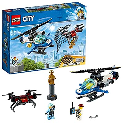LEGO 60207 City Police Sky Police Drone Chase Helicopter Toy with Net Shooter, Jail Break Sets for Kids
