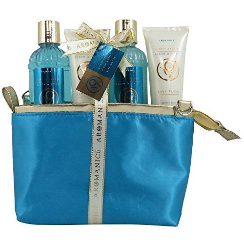 Coffret cadeau beauté pour femme - Trousse de bain bleu/dorée - Collection Aromanice - Agrumes/Orchidée