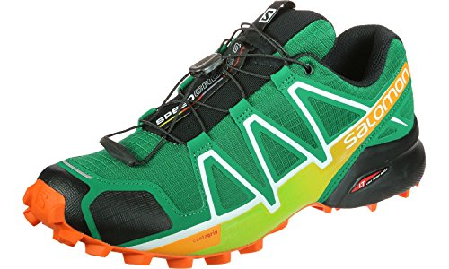 Salomon Speedcross 4, Zapatillas de Trail Running para Hombre, Verde Ultramarine Green Black Scarlet Ibi, 40 2/3 EU