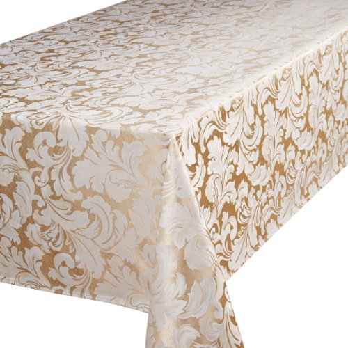 Signature Collection Cadiz Damask Effect Champagne (Creamy-Gold) 52in x 90in (132cm x 228cm) Oblong (Rectanglular) Tablecloth. Ideal For 4-6 Place Settings. All Sizes Approximate