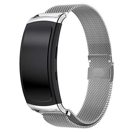 Uatone Armband für Samsung Gear fit 2/Gear Fit 2 Pro,Edelstahlband Sport Armband Uhrenarmband für Samsung Gear Fit 2 SM-R360/Fit 2 Pro SM-R365
