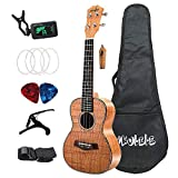 Nrpfell Ukelele de Concierto Set 23 Pulgadas Tiger Weave Okoume Wood AcúStica Ukelele 4 Cuerdas Hawaiian Guitar Music Instrument